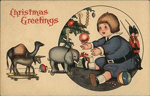 Child Finding Toys Under Christmas Tree Original Vintage Postcard At