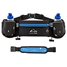 Mira-Tech Hydration Running Belt With Water Bottles:#1 Best Recommended Running Fuel Belt For Men And Women Perfect for Marathons,Hiking - Pockets Fits iPhones 6/6SPlus & Free LED Safety Armband(BLUE)