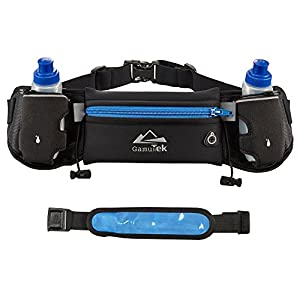Mira-Tech Hydration Pockets Running Belt with Water Bottles and LED Safety Armband - Blue
