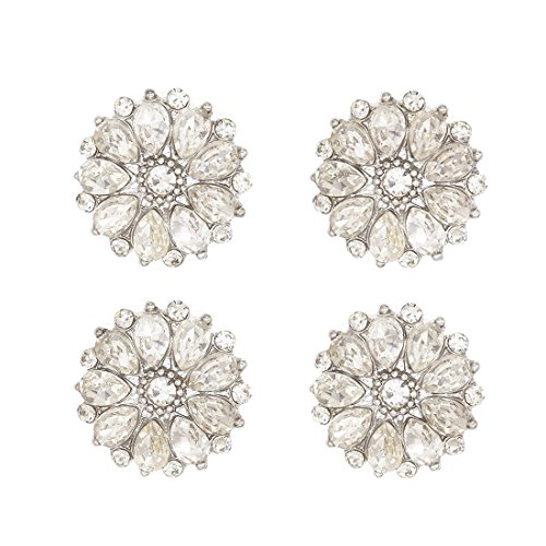 - SHINYTIME Rhinestone Buttons 4 Pieces Sew-On Flower Sliver Tone Embellishments Wedding bouquet accessories for Clothing Decoration and DIY Crafts 0.8 inch Valentines ideas for her