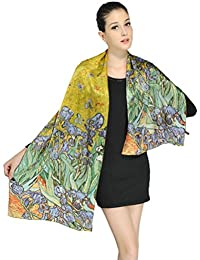 "Women Luxurious Charmeuse Silk Van Gogh's ""Irises"" Beautiful Long Scarf"
