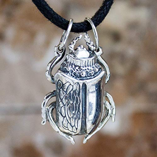 (Sterling Silver Scarab Beetle Necklace Egyptian Pendant Bug Necklace Egyptian Jewelry for Women Men/Additional Option -Sterling Silver Chains )