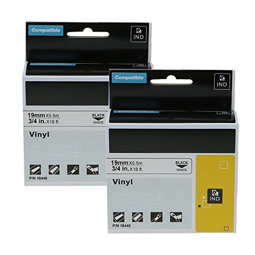 2-Pack Replacement DYMO 18445 Industrial Permanent Vinyl Label Tapes for DYMO LabelWriter and Industrial Rhino 4200 5200 5000 6000 Label Makers, Black on White, 3/4 x 18 ft (19mm x 5.5m)