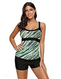 SheShy Women's Stripes Print Tankini Tops Swimwear Sexy Bathing Swim Tops