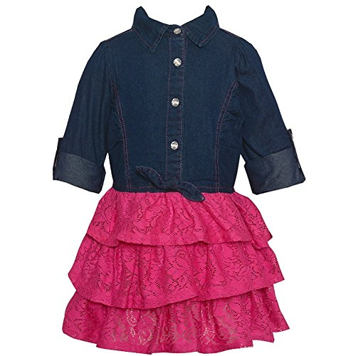 Real Love Little Girls Fuchsia Blue Knot Chambray Top Lace Tiered Dress 2T (Top Doll Baby Tiered)