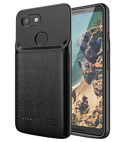 NEWDERY Google Pixel 3 Battery Case, 4700mAh Slim Extended Charger Case with TPU Raised Bezels, Rechargeable Charging Case Cover Compatible Google Pixel 3 ()