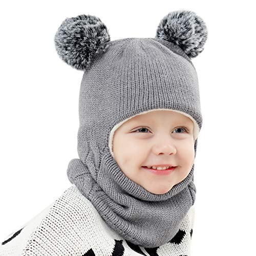Baby Girls Boys Winter Hat Scarf Earflap Hood Scarves Skull Caps Grey