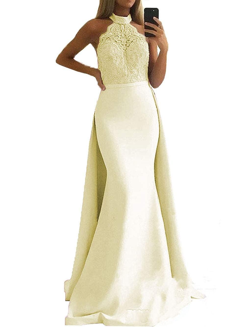 SDRESS Women's Lace Appliques Illusion Long Mermaid Skirt Bridesmaid Prom Dress