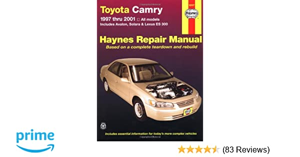 Toyota camry 1997 thru 2001 all models includes avalon solara toyota camry 1997 thru 2001 all models includes avalon solara lexus es 300 haynes automotive repair manuals robert maddox jay storer fandeluxe Image collections
