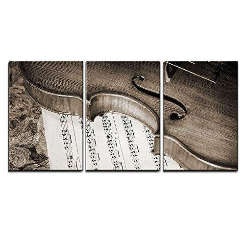 "Wall26 - 3 Piece Canvas Wall Art - Close-Up Picture of the Old Italian Violin Witn Score - Modern Home Decor Stretched and Framed Ready to Hang - 16""x24\""x3 Panels"