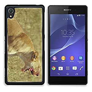Roaring Puma with Tongue Out HWRU Sony Z2 Cover Premium Aluminium Design TPU Case Open Ports Customized Made to Order