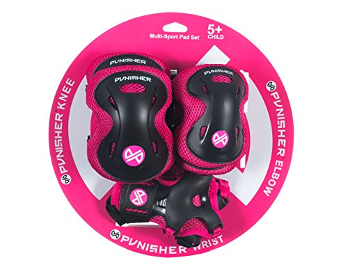 Punisher Skateboards Childrens Protective Pad set for Skateboarding, Elbow Knee and Wrist Pads, Size Small, Pink, Ages 5+ -  9247