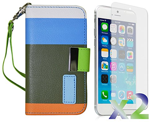 Exian Apple iPhone 6 Screen Guards x2 and Multi-Colour Wallet Case Blue/Green/Orange