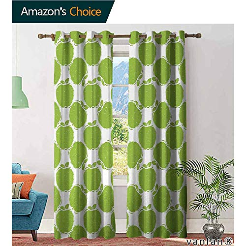 LQQBSTORAGE Apple,Curtains Insulated Thermal,Abstract Sketch of Granny Smith Silhouettes Orchard Produce Fruitarian Diet,Curtains Kitchen Valance,Apple Green White ()
