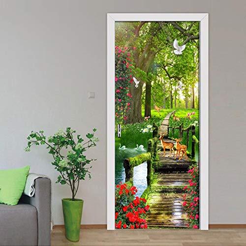 (TLDDDB Door Sticker Santa Claus DAR Un Regalo 3D Puerta Etiqueta Engomada DIY Mural Soporte De Papel Pintado Extraíble Cartel)