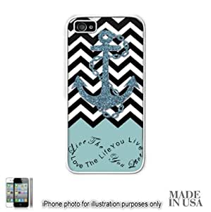 Anchor Live the Life You Love Infinity Quote - Powder Blue Black White Chevron with Anchor (Not Actual Glitter) iPhone 5 5S Hard Case - WHITE by Unique Design Gifts