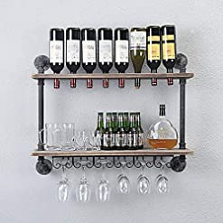 Home Bar Cabinetry WGX Design For You Industrial Rustic Wall Mounted Wine Racks with Glass Holder Pipe Hanging Wine Rack,2-Tiers Wood Shelf… home bar cabinetry