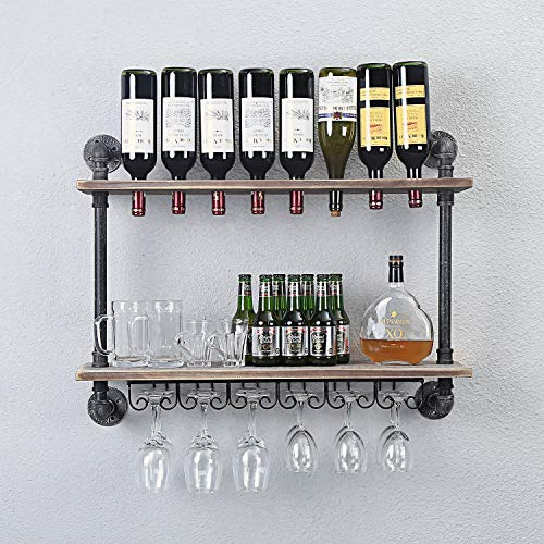 WGX Design For You Industrial Rustic Wall Mounted Wine Racks with Glass Holder Pipe Hanging Wine Rack,2-Tiers Wood Shelf Floating Shelves,Home Room Living Room Kitchen Decor Display Rack (24inch) 24' Wood Rack Bars