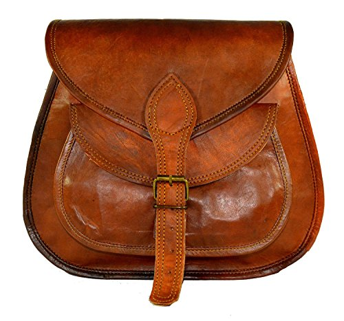 Genuine Leather CrossBody Women's Handmade Vintage Sling Satchel Travel Bag / School College Bag By INDO CRAFT (11X9X3inches)