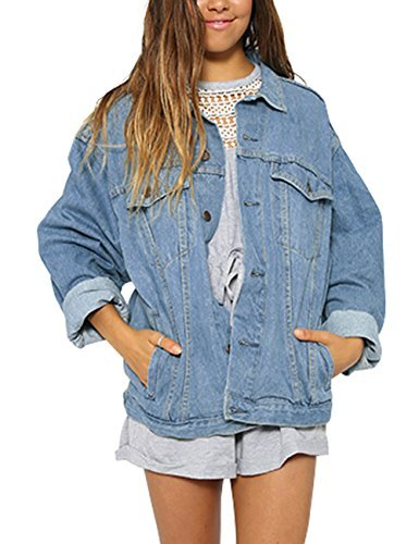 just quella Women Pocket Button Casual Denim Jacket Coat 8989 (XL, Light Blue) by just quella