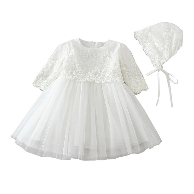OuYou Vestido de Mangas Largas Bautizo Princesa para Bebé Niña Recién Nacido (3-24