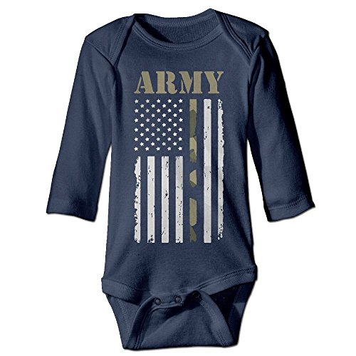 Price comparison product image PUREYS-I Printed USA Army Flag Cute Infant Baby Boy Girl Long Sleeves Romper Jumpsuit Bodysuit