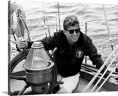 John Parrot Premium Thick-Wrap Canvas Wall Art Print entitled President John F. Kennedy sailing aboard his yacht - Famous With People Sunglasses