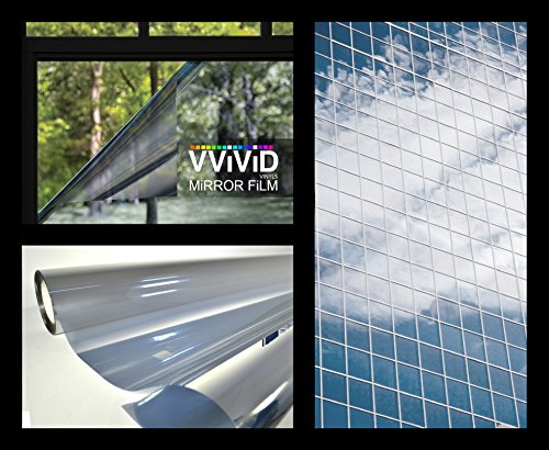 VViViD Heat Control One-Way Mirror Platinum Silver Vinyl Window Film Roll (600'' x 60'' Bulk Roll) by VViViD