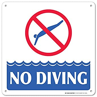 Swimming Pool Safety Rules No Diving Laminated Sign 12 X12 040 Rust Free Aluminum Made In