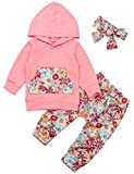 Baby Girls Long Sleeve Hoodie Tops and Flowers Pants Outfit with Pocket Headband 0-6 Months Pink