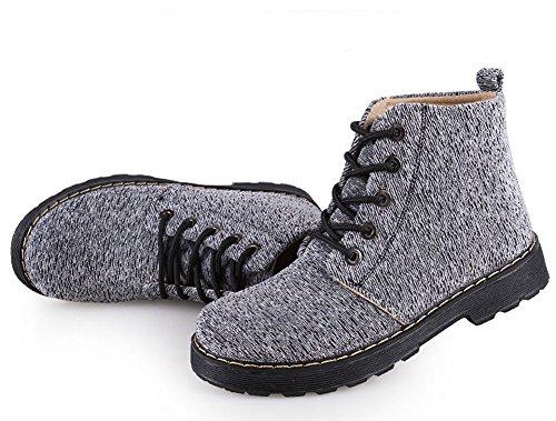Minetom Damen Herbst Mode Kurz Stiefeletten Aufladungen Freien Schnür Martin Stiefel Ankle Boots Flache Schuhe Schlupfstiefel Bootsschuhe Grau