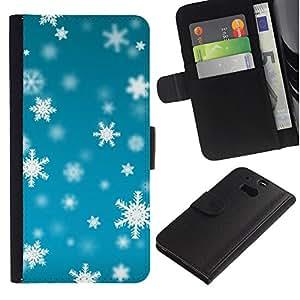 [Neutron-Star] Modelo colorido cuero de la carpeta del tirón del caso cubierta piel Holster Funda protecció Para HTC One M8 [Invierno azul brillante Nieve]