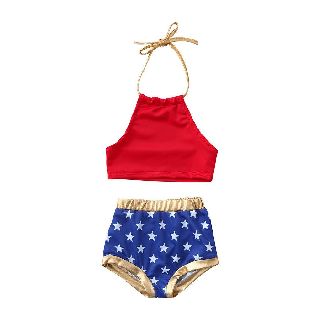 LILICAT✈✈ 2019 (6M-5Y) Top sin Mangas de Encaje de Color sólido para niños + Pantalón de natación con Estampado de Pentagrama Traje de baño Dividido Bikini Infantil Star Straps Set Beach
