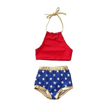 c0ec2a1166 Baulody 2PCS Infant Kids Baby Girls Swimwear Star Straps Swimsuit Bathing  Bikini Set Beach (18