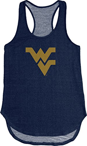 (NCAA West Virginia Mountaineers Adult Women NCAA Women's Tri Blend Panel Tank,Large,Navy)