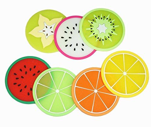 LuckyStar365 7-Piece Non-Slip Silicone Fruit Drink Coasters