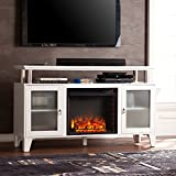 Southern Enterprises Cabrini Media Electric Fireplace 60 Wide, White Finish