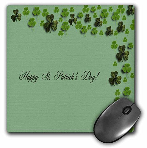 3dRose Beverly Turner St Patrick Day Design - Clovers Top and Right, Happy St Patricks Day - MousePad (mp_40343_1)