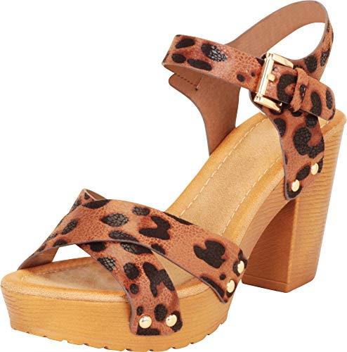 Cambridge Select Women's Retro 70s Studded Clog Crisscross Strappy Chunky Platform Block Heel Sandal,8.5 B(M) US,Leopard PU