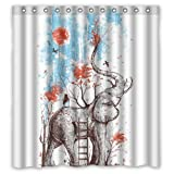 abigai Art Elephant Waterproof Bathroom Fabric Shower Curtain 72' x 72'