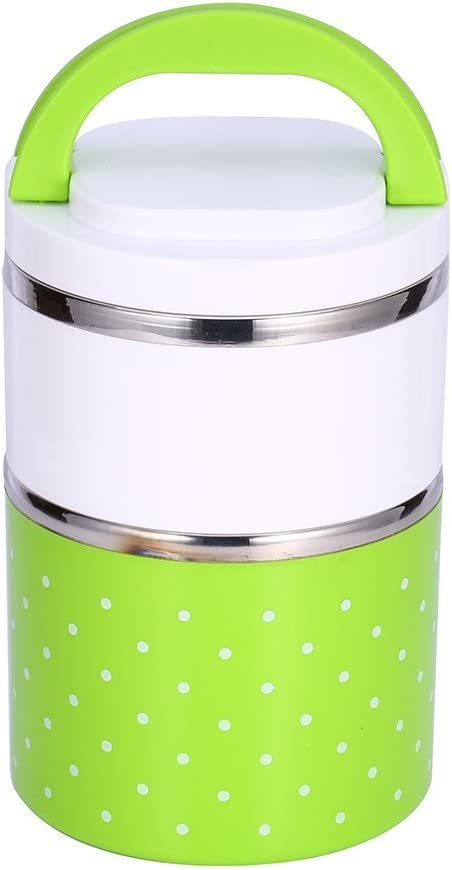 Yosoo Container Bento Box, Soup Thermos Food Jar, conteners lunch Yosoo 1-3 Layers Stainless Steel Thermal Insulated Lunch Box Bento Food Container With Handle (900ml, Green)