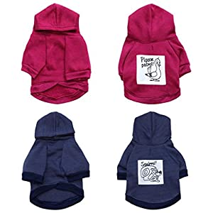 ZX101 Lovely Squirrel Pigeon Pattern Pet Clothes Dog Puppy Hoodie Soft Outfit Costume size S (Claret)