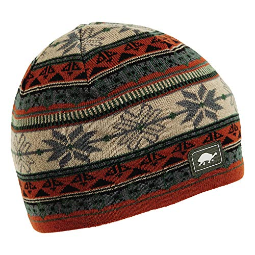 Turtle Fur Lars Merino Wool Nordic Style Knit Beanie Men's Fleece Lined Ski Hat Cedar