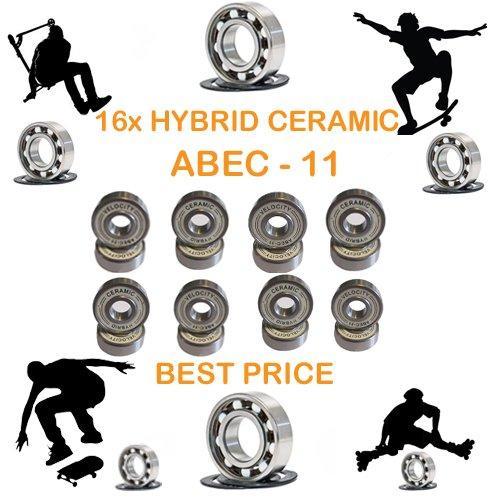 16 x BEST PRICE HPS SCOOTER PREMIUM ABEC 9 HYBRID CERAMIC BEARINGS INLINE  ROLLER SKATE SKATEBOARD DERBY X 16