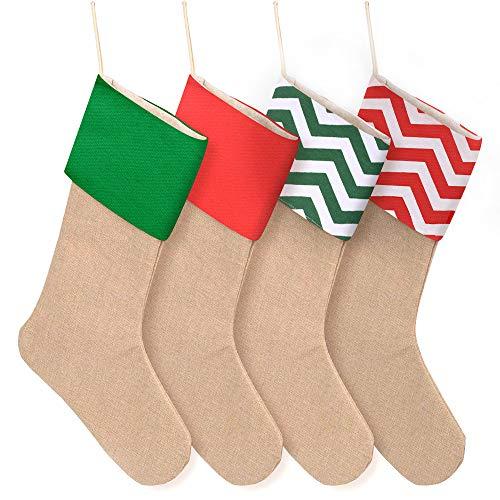 Coopay 4 Pieces Christmas Burlap Stockings Xmas Fireplace Hanging Stockings Christmas Decoration DIY (Multicolor)
