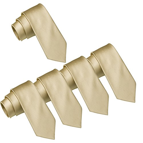 Mens Wedding Tie Wholesale Groomsman Solid Color Skinny Ties 5 Pack (2 inch) (Champagne)