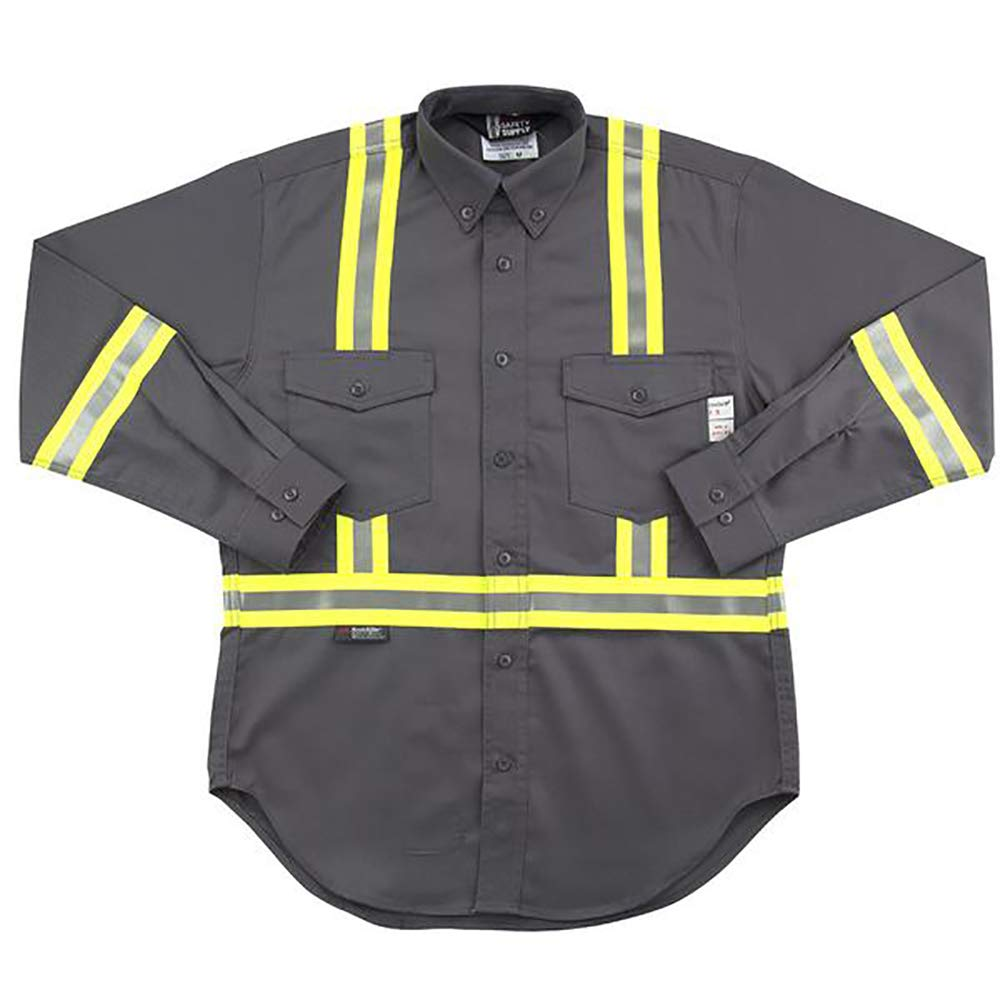 Flame Resistant FR Reflective Button Shirt (6XL, Gray)