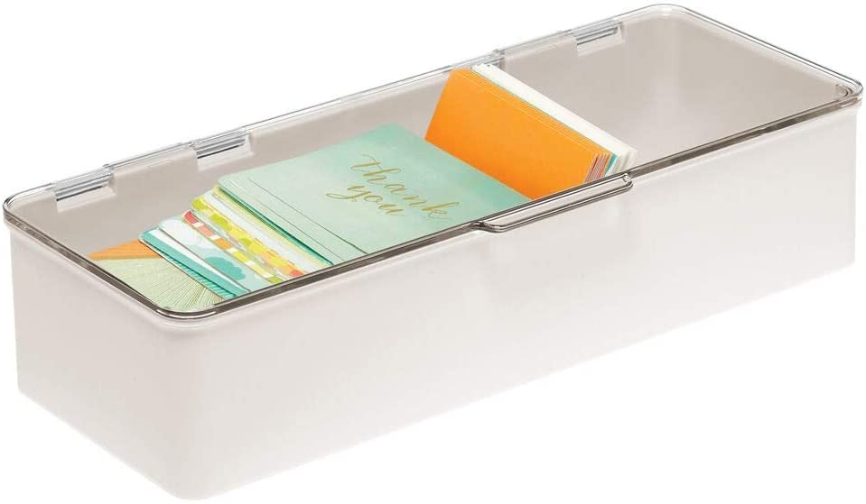 mDesign Plastic Stackable Box Home, Office Supplies Storage Organizer Box with Attached Hinged Lid - Holder for Note Pads, Gel Pens, Staples, Dry Erase Markers, Tape - Cream/Beige