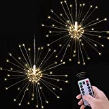 Fairy String Lights, E-lip 2PCS USB Power 120 LEDS Starburst Light with Remote Control for Fairy Garden, Patio, Room, Wedding, Party, Halloween (Warm Light)