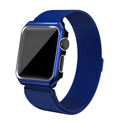 AHXLL Compatible for Apple Watch 38mm 42mm, Mesh Milanese Loop Stainless Steel Replacement iWatch + Metal Protective case for Apple Watch Series 3, Series 2, Series 1, Sport& Edition (Blue, 38MM)